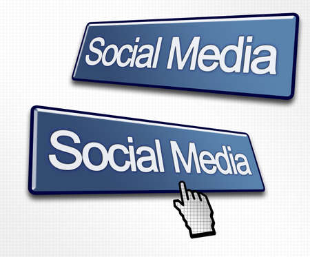 worldwideweb: Two Social Media Buttons with a Hand Cursor Clicking