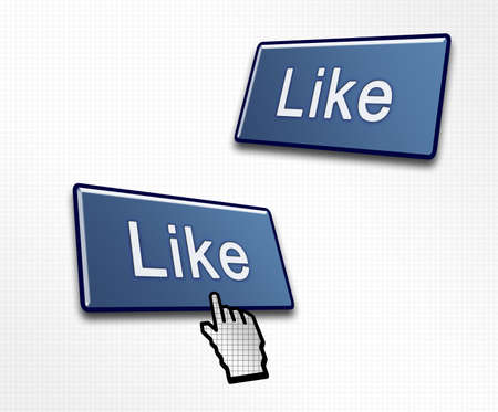 Two Social Media Like Buttons with a Hand Cursor Clicking Stock Photo - 13704343