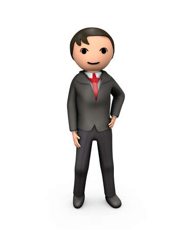3D Young Business Man in Suit Standing on White Stock Photo - 13704329