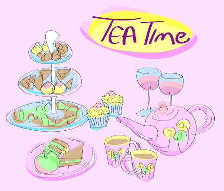 Snacks, cups and tea kettle on pink background with Tea Time text photo