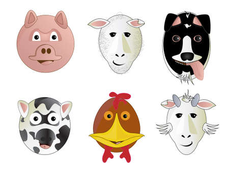 moo: Various Cartoon Comic Farm Animal Face Vector Illustrations Round Circular Style Designs Dog Pig Sheep Goat Cow Chicken Rooster Stock Photo