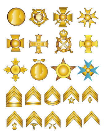 rank: Military Badges Medals and Rank Chevrons Vector Illustration in Gold Stock Photo