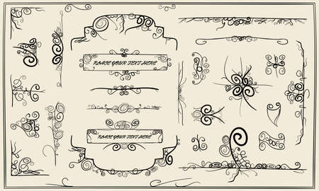 breaks: collection of artistic sketched swirly design elements Stock Photo