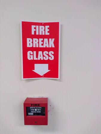 break glass alarm and sign directions Foto de archivo