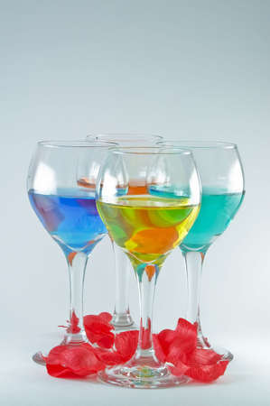 Wine Glasses with Rose Pedals Stok Fotoğraf - 2377403