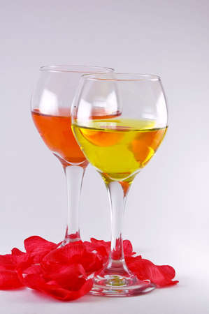 Wine Glasses with Rose Pedals Stok Fotoğraf