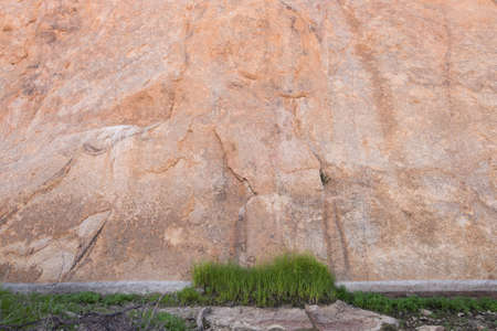 large rock: Grass patch in front of large rock wall Stock Photo