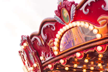 Close up of Carnival carousel swing ride at fair