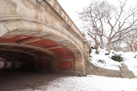 Stone Bridge after snow falls in Central Park, New York City
