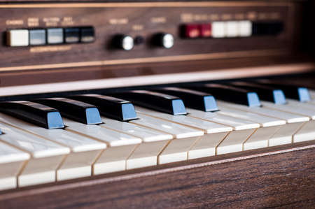 electronic 80s: Vintage electronic organ from 70s Stock Photo