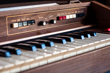 70's: Vintage electronic organ from 70s Stock Photo