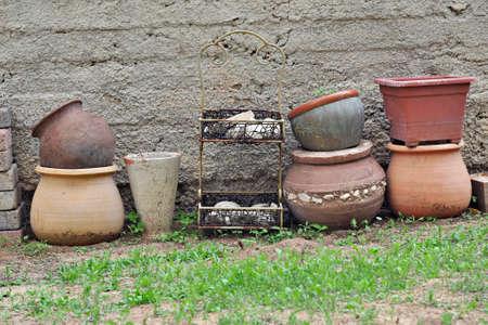 terracotta: Set of terracotta flower pots on the back yard Stock Photo
