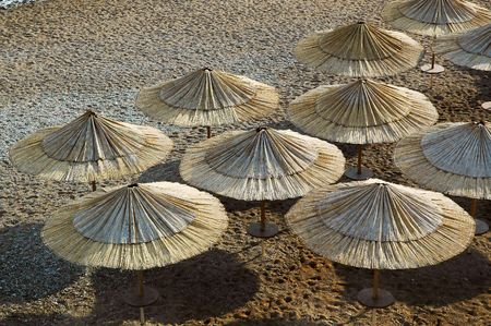 Rush parasols on the beach.View on top.