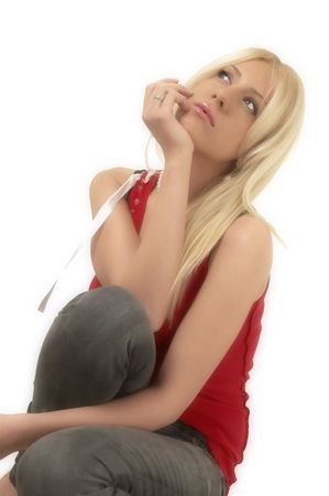 Blond girl thinking about... Stock Photo - 953986