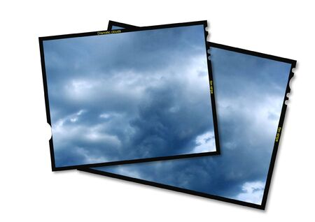 Midle format film frame with clouds inside. Stock Photo