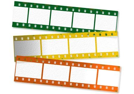 35: Pel�cula de 35 mm en cintas de diferentes colores.