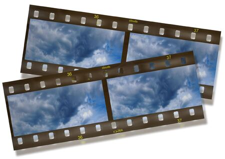 undressing: Panoramic film stripe with clouds