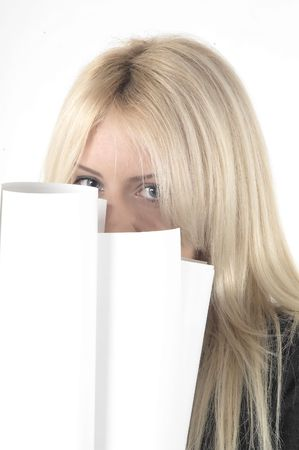 successfulness: Girl hiding behind projects