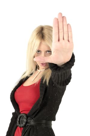Girl wiht hands in front make stop signal Stock Photo