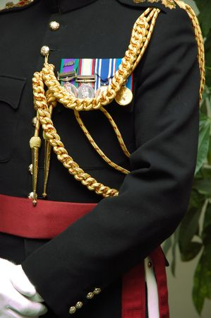 Details of the medals and uniform of a highly decorated English officer, Lt., atache, NATO Conference. Stock Photo - 1091180