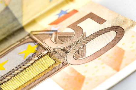 Fifty euro banknote on white background. Stock Photo