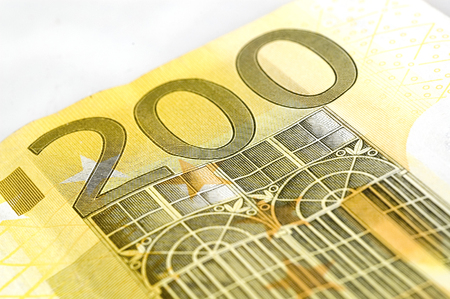 Two hundred euro banknote on white background.