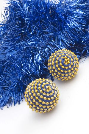 Blue Christmas tree bulbs with blue decorations. Stock Photo