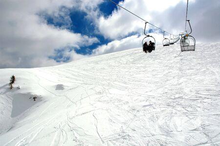 Ski lift view from bottom.