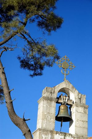 orthodox church: Steeple on old orthodox church. Stock Photo