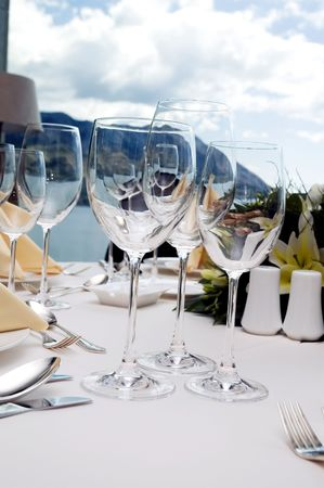 Table preparing for after wedding ceremony diner in luxury hotels restaurant. photo