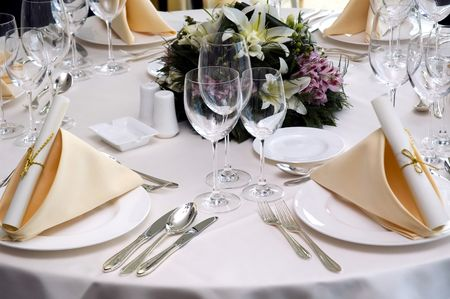 Table preparing for after wedding ceremony diner in luxury hotels restaurant.