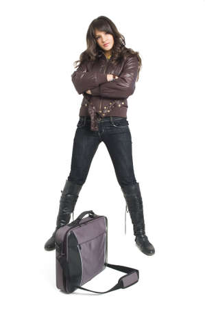 bookbag: Young brunette teenager girl with laptop bag on white background.