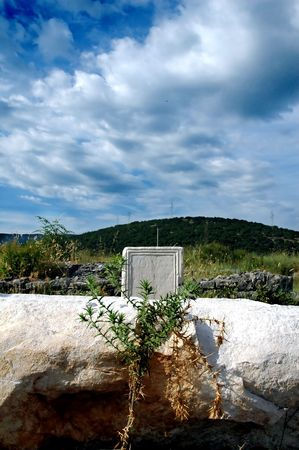 stoned: Roman epitaph in old town Docle near the city Podgorica in state Montenegro.