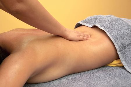 EASE: Girl relaxing. Massage salon with accessories. Anti stress massage.