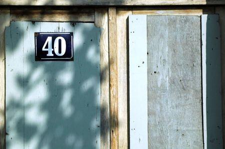 Old wooden door with number 40