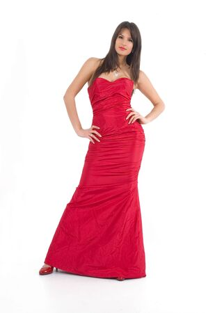 Young brunette girl in fashionable sexy red dress. Stock Photo - 2474943