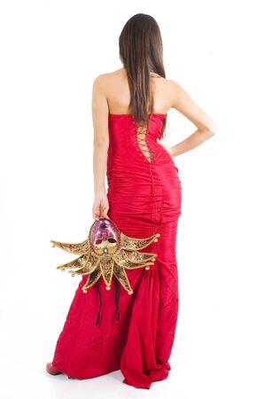 Beautyful brunette girl vith Venice carnival mask. Stock Photo - 2506943
