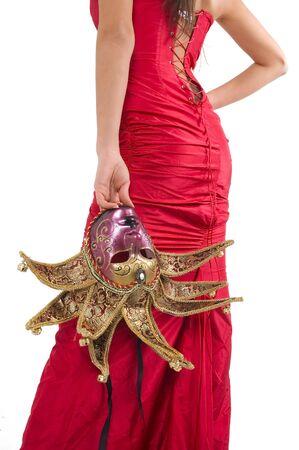 Beautyful brunette girl vith Venice carnival mask. Stock Photo - 2506955