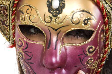 Beautyful brunette girl vith Venice carnival mask. Stock Photo