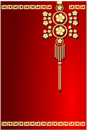 fire works: red gold lampion chinese design Illustration