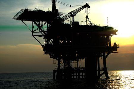 plataforma: petrolera costa afuera, construcci�n de perforaci�n  Foto de archivo