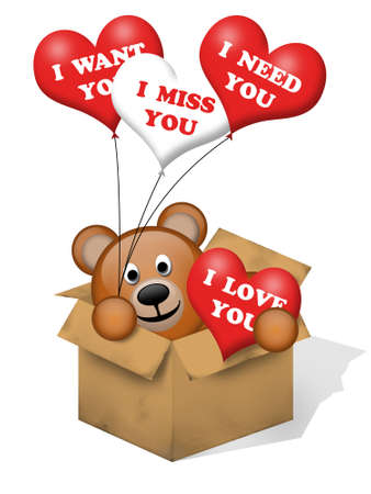 A brown bear in a box with some hearts Banco de Imagens