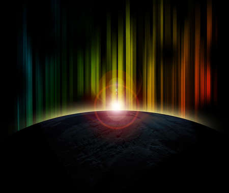 Planet earth with sunrise on colorful background Stock Photo
