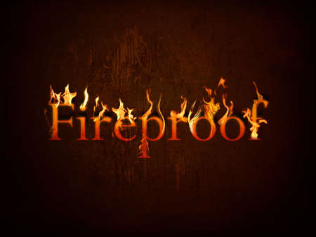 fireproof: Fireproof on fire on textured background Stock Photo