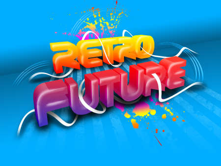 A colorful text Retro Future on a blue background.