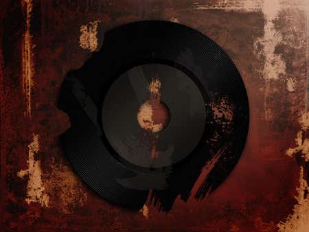 A broken vinyl on a dirty background