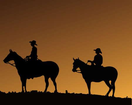 country western: Deux Cowboy sur deux chevaux