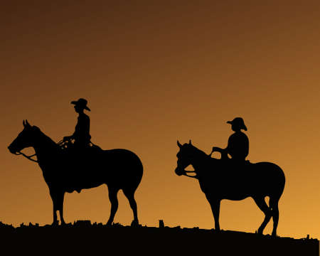 wild west: Two Cowboys on two horses
