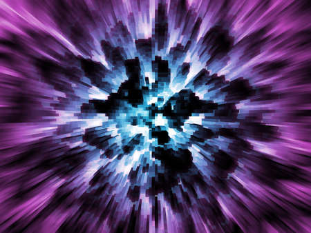 Exploding blue city on purple background