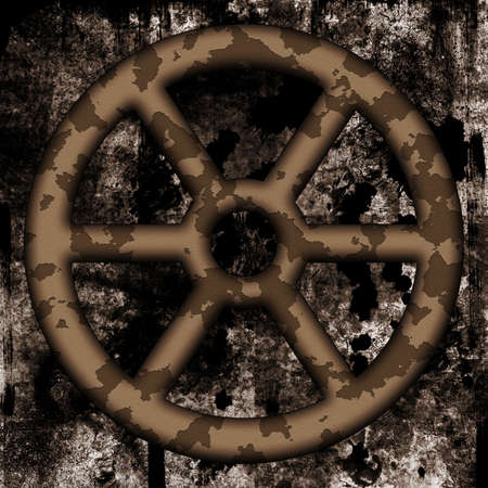 shutoff: Old rusted twheel on dirty background Stock Photo